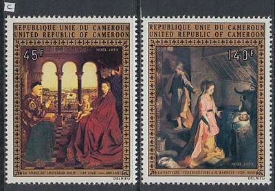 XG-AB074 CAMEROON IND - Paintings, 1973 Christmas, 2 Values MNH Set