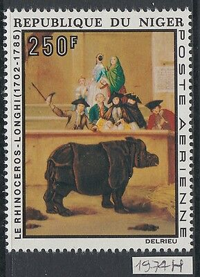 XG-AA986 NIGER IND - Paintings, 1974 Philexafrique, Rhynoceros, Longhi MNH Set