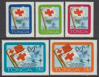 XG-AB676 TONGA IND - Red Cross, 1981 Year Of Disabled, Adhesive Stamps MNH Set