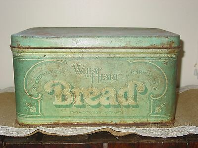 Vintage Wheat Heart Brand Bread Box~Metal~1970's~Gree~ Country Decor~Patina~Rust