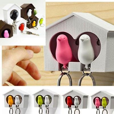 1PC Home Wall Hanging Bird Nest Bird House Sparrow Whistle Keychain Key Ring LH