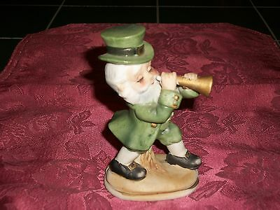 Vintage Lefton Japan Painted Porcelain Leprechaun Figurine w/ Horn 6203 Label
