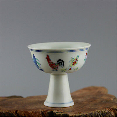 Chinese Asian Hen Chicken Antique Porcelain Decorative Old Tall Cup #112