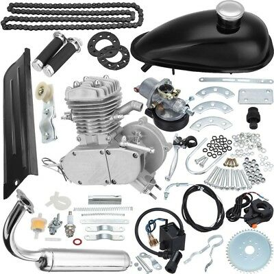 NEW Silver 80cc 2-Stroke Motor Engine Kit Gas for Motorized Bicycle Bike