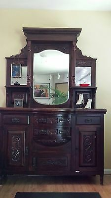 Antique English Sideboard With Mirrored Hutch Large Good Cond.