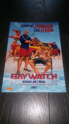 "Baywatch (Film) Pp Signed 12""x8"" A4 Photo Poster Dwayne Johnson Zac Efron"