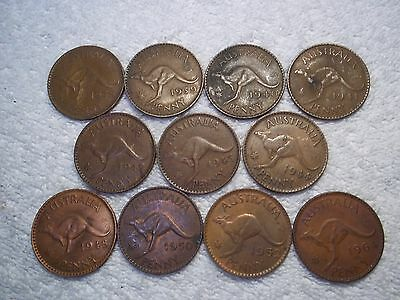 1938 - 1964 Australia Penny Old World bronze Kangaroo coins (lot of 11) shown #N