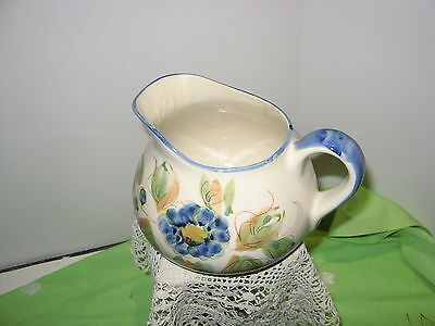 "Creamer/ Small Pitcher  - 5.5"" - Hand painted - Made in Portugal,  Blue & Gold"