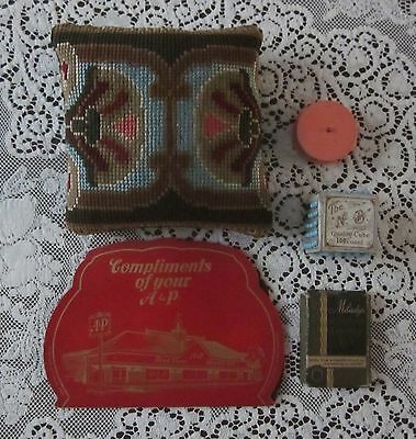 Vintage Antique Sewing Lot Pin Cushion Advertising Toilet Pin Cube Needle Book