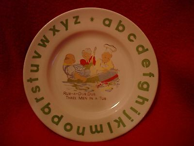 Wood & Sons English Ironstone Childs Plate Rub-a-dub dub 3 men in a tub alphabet