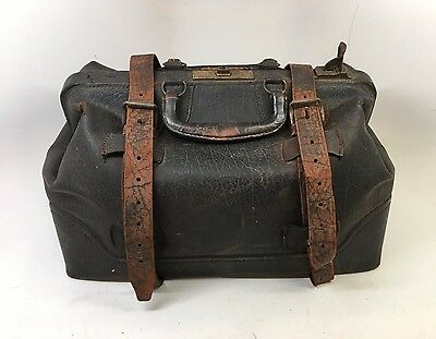 Large Antique Leather Cowhide Doctor's Bag Stamped 1886