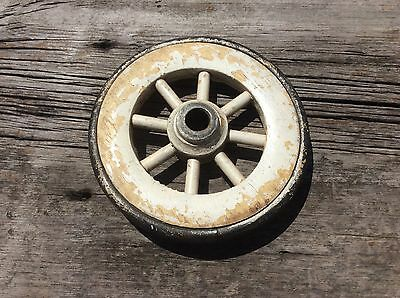 Small Wood Wheels With Rubber Tread, 8 Spoke , 6 Inch Diameter, White