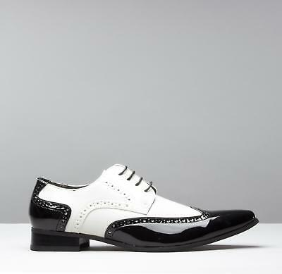 Mister Carlo ARTISTA Mens Pointed Formal Gangster Dress Shoes Black & White