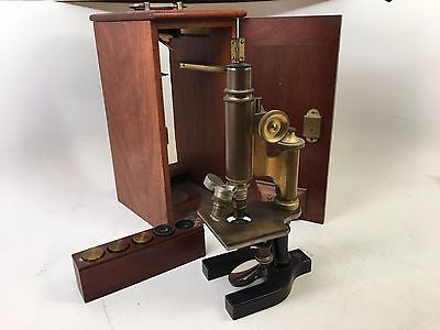 Vintage Brass Bausch And Lomb Microscope With Accessories And Case