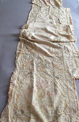 Vintage Antique Mantle Scarf French Sideboard Silk Cloth Hand Embroidered 84x20