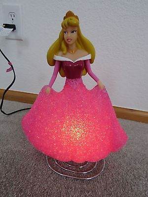 Disney Princess Aurora Lamp Night Light Sleeping Beauty Pink Dress Spring Base