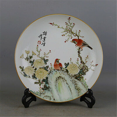 A Beautiful Chinese Famille Rose Porcelain Flowers Birds Plate