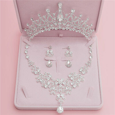 Bridal Crystal Rhinestone Wedding Party Hair Accessories Tiara Necklace Earrings
