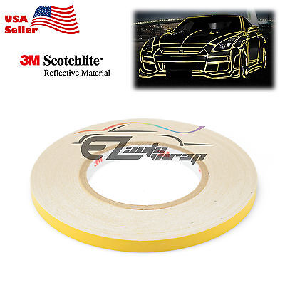 3M Yellow Reflective Tape Safety Self Adhesive Striping Sticker 150FT Roll 1Cm