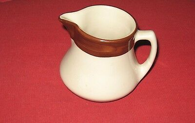 Vintage China Shenango Restaurant Ware White Brown Trim Smooth Mini Milk Creamer