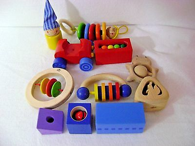 Lot Wooden Baby Toys HABA HAPE Clutch Clown Rattle MAX Dangling 11 Pcs + Pouch