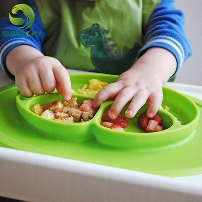 Baby Toddler Food Silicone Placemats Bowl All-In-One Red Blue Green BPA Free
