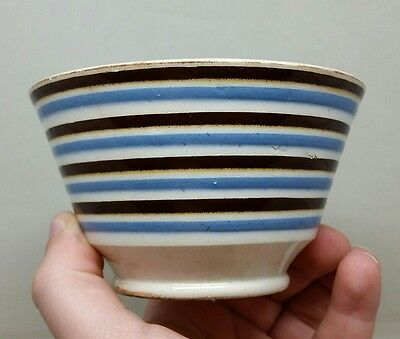 18th/19thC Antique Banded Mochaware Bowl Rare Pattern