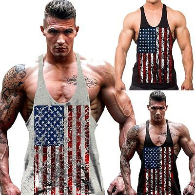3684f0db Mens Stringer Bodybuilding Tank Top Solid Gym Singlet Y-Back Muscle Racer- back
