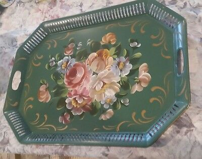 """VTG Toleware tole Painted Reticulated Tray Floral Flower Shabby Cottage 24"""" HUGE"""