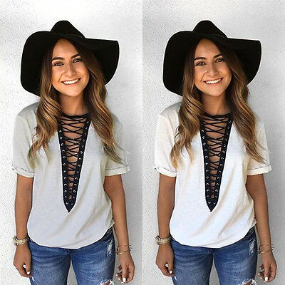 US Fashion Women Lady Summer Short Sleeve Loose Blouse Casual Shirt Tops T-Shirt