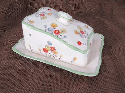 antique Devon Ware Fieldings Poppy Covered cheese dish Tray 2 piece England