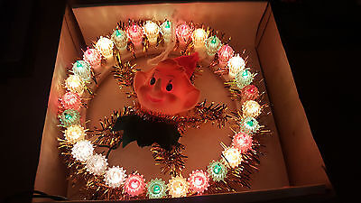 VTG Pixie Circle of Light Wreath Christmas Tree Topper w/ Original Box  2 Bulbs