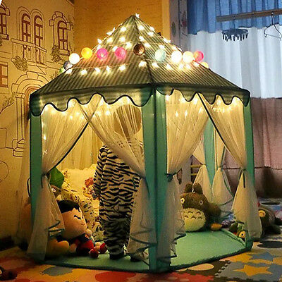 Princess Castle Pop Up Play Tent Kids Girl Indoor Outdoor Play House LED Light