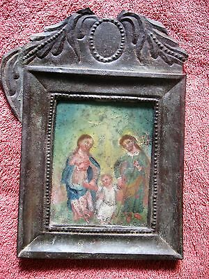 Original 1800's Retablo On A Tin Nicho The Holy Family Good Condition