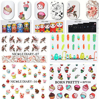 2 Sheets Nail Water Decals Stickers Transfer  Nail Art Manicure Flower Pattern