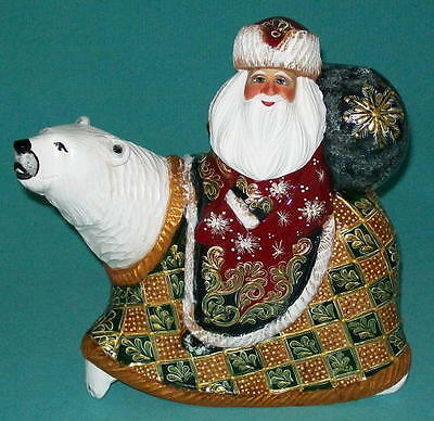Santa on a Polar Bear - Hand Painted Golden Uzor Grandfather Frost #3693