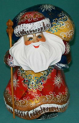 Russian Golden Stooped Hand Painted Santa Claus #5435 Grandfather Frost Statue