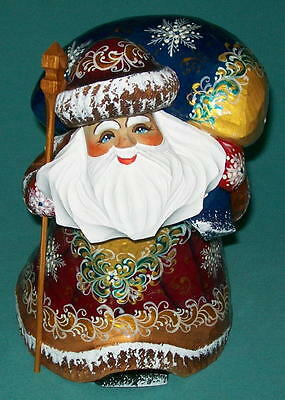 Russian Golden Stooped Hand Painted Santa Claus #5421 Grandfather Frost Statue