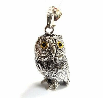 Lovely Antique Style Detailed Owl Figure Glass Eyes Pendant 925 Sterling Silver
