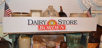 """RARE! NOS NEAR MINT UNUSED SIGN FRONT 52'x 8.25"""" BORDEN DAIRY STORE ELSIE DAISY"""