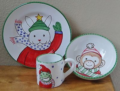 Kelly Rightsell/Present Tense~Childs 3 pc Xmas Holiday Dish Set~Cup/Bowl/Plate