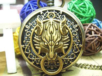 Gold Wolf Game of Thrones House Stark Pocket Watch Necklace Pendant - Gift Idea