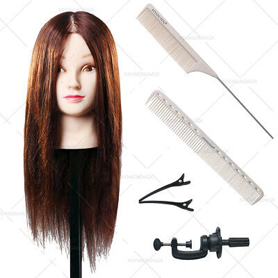 Hairdressing 75% Brown Training Mannequin Head With Clamp Stand Comb Set