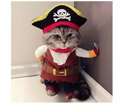 Pirate Captain Dog Clothes For Pets Cat Costume Outfit Shawl Fancy Dress Apparel
