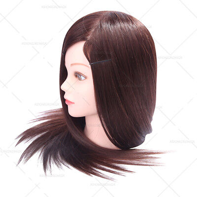 Hairdressing 22 Inch Training Mannequin Head  75% Brown Real Hair Styling Head