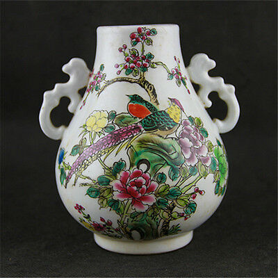 Chinese Asian Floral Bird Pastel Antique Porcelain Pot Decorated Old Jar #69