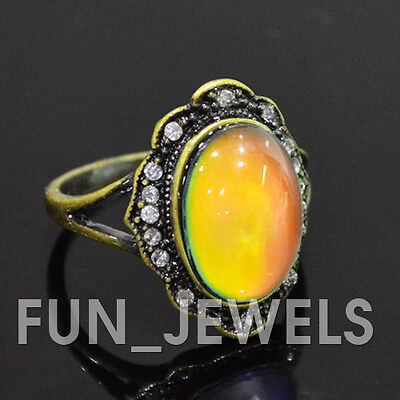 Beautiful Oval Mood Ring Antique Bronze Multi Colored Change Free Color Chart