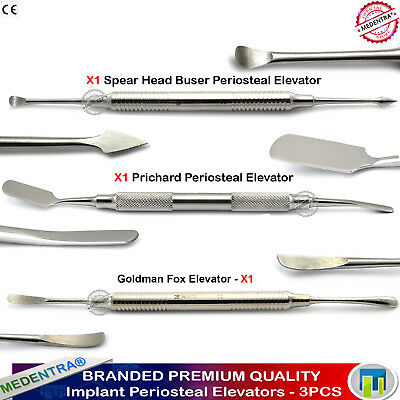 Medentra® 3Pcs Implant Dental Oral Surgey Periosteal Elevators Buser Goldman Fox