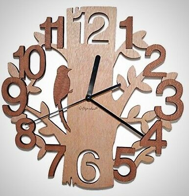 Giftgarden Unique Contemporary Tree-Shaped Wooden Modern Wall Decor Clock