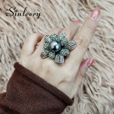 Vintage 12mm Gray Pearl Big Flower Rings For Women Female Antique Silver Plated